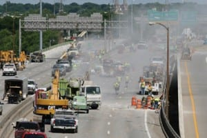 Construction on a freeway ramp