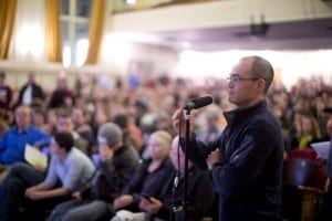 Chris Winter speaking at a public hearing about the air toxics crisis in SE Portland. Photo by Beth Nakamura, OregonLive.