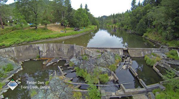 Fielder Dam in Evans Creek. Photo courtesy of Scott Wright, PE, River Design Group