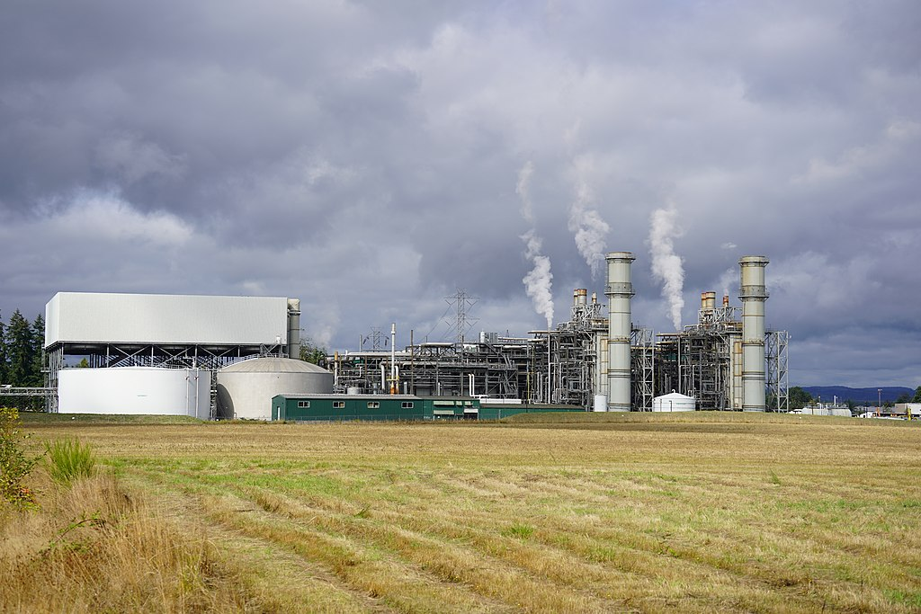 Photograph is of the eastern face of the Chehalis Power Plant, a natural gas fired combined cycle power plant located in Chehalis, Washington