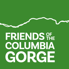 Green box with Friends of the Columbia Gorge in large text