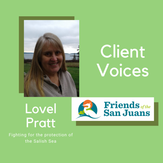 Client Voices featured image of Lovel Pratt and Friends of the San Juans Logo.