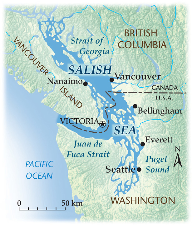 Map of the Salish Sea, including Canada and the United States.